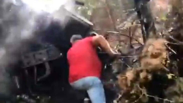 Uçuruma yuvarlanan kamyonda 3 kişi yanarak can verdi