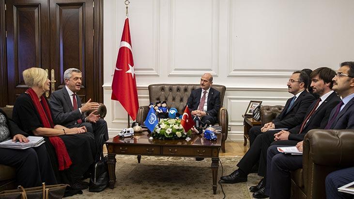 Bakan Soylu, BM Mülteciler Yüksek Komiseri Grandi'yi kabul etti