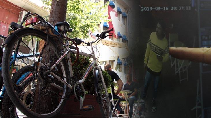 Pes dedirten olay! Önce çay içti sonra bisiklet çaldı