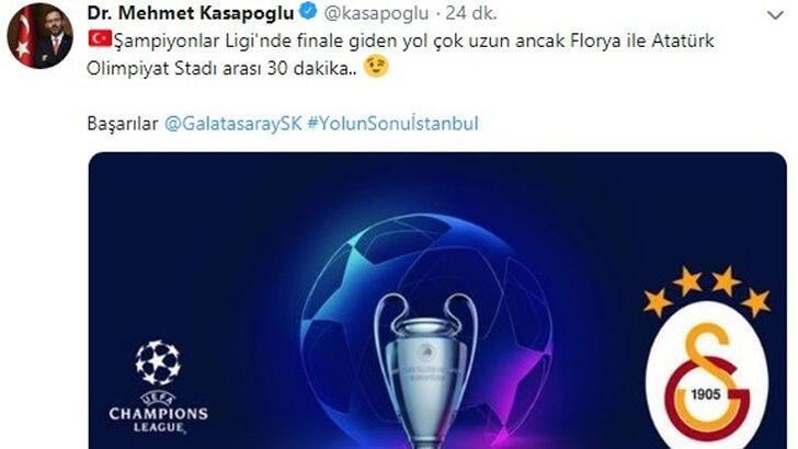 Bakan Kasapoğlu: Başarılar Galatasaray, yolun sonu İstanbul