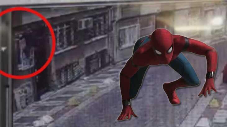 O anlar kamera kayıttaydı! Örümcek adam gibi...