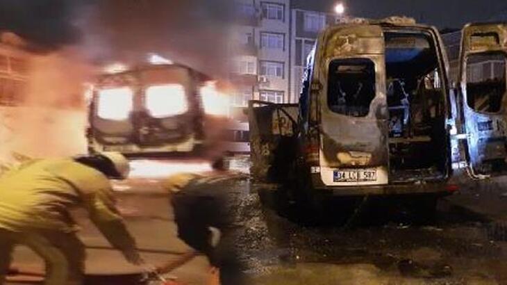 Park halindeki minibüs alev alev yandı!