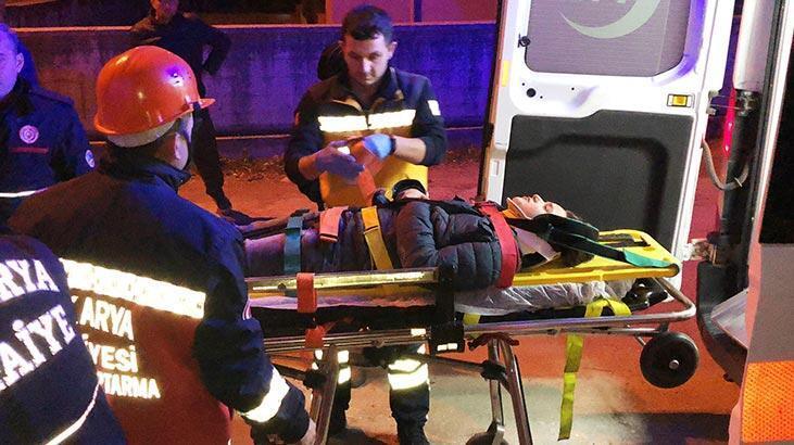Alkollü kişiden kaçan çocuk merdiven boşluğuna düştü