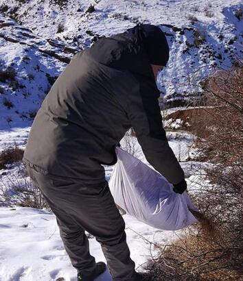 Sivas'ta yaban hayvanları için doğaya yem bırakıldı