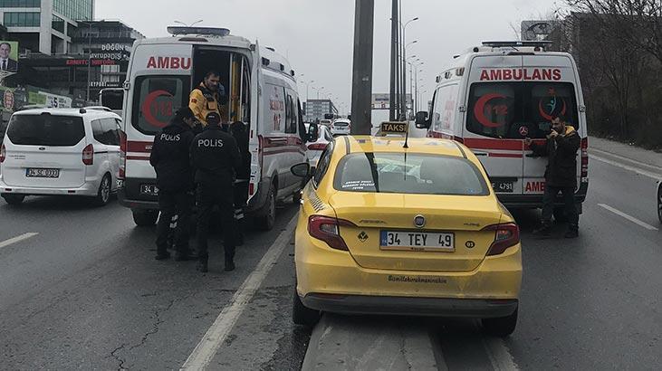 E-5'te ticari taksi kaza yaptı!