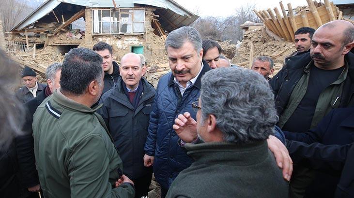 Bakanlar Soylu ve Koca, Sivrice'de depremzedeleri ziyaret etti