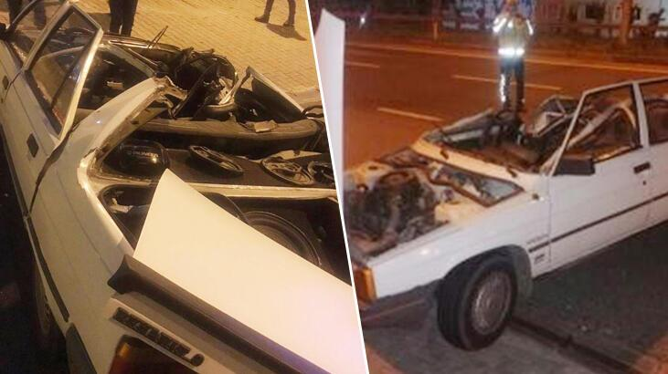 Tavanı kopan otomobilin sürücüsü kazadan yara almadan kurtuldu