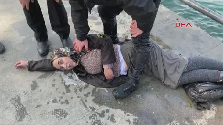 Üsküdar'da can pazarı! Kadını o halde görünce denize atladı