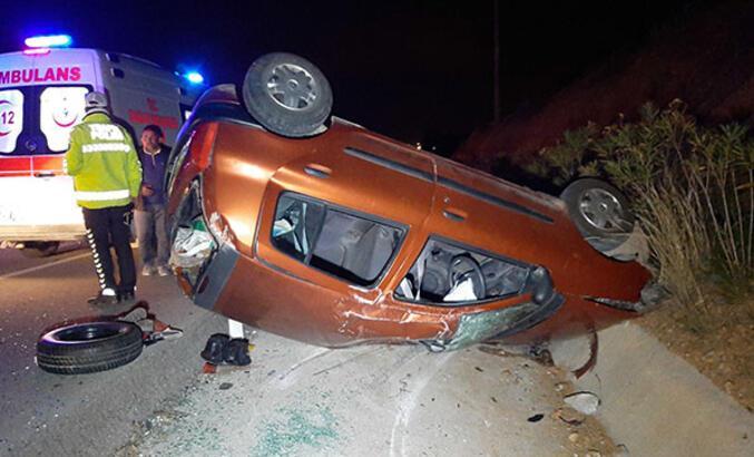 Köpeğe çarpan otomobil takla attı: 6 yaralı