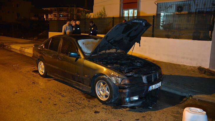 Park halindeki otomobili kundaklayıp, sahibinin evine ateş açtı