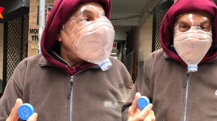Kadıköy'de görenler şaşkına döndü! Coronaya karşı pet şişeli maske