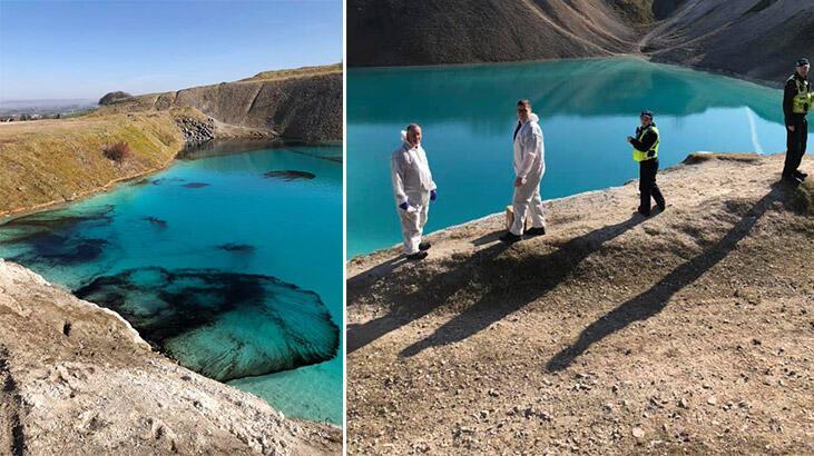 İngiltere'de polis fotoğraf çekenleri durdurmak için gölü siyaha boyadı