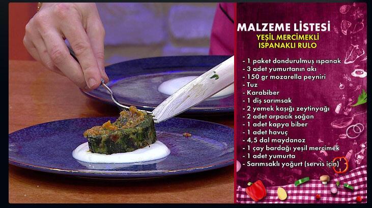 Yeşil mercimekli ıspanaklı rulo nasıl yapılır, malzemeleri nelerdir? Gelinim Mutfakta bugünkü yemek tarifi