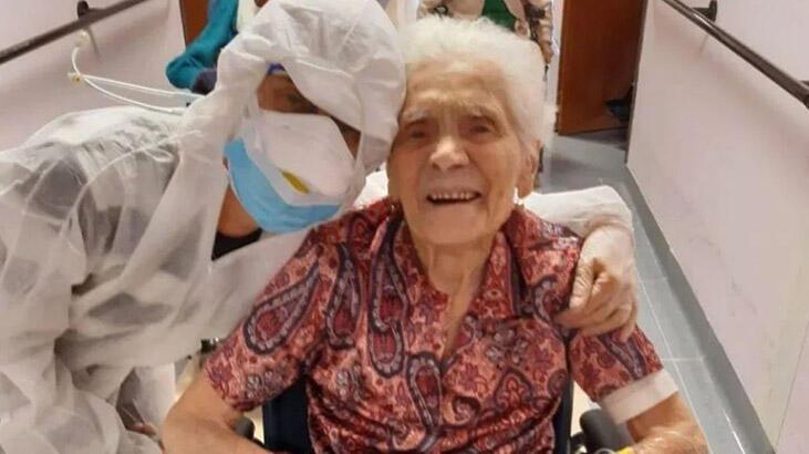 104 yaşındaki kadın önce İspanyol gribini sonra da koronavirüsü yendi