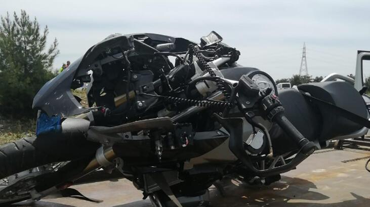 Kullandığı motosikleti şarampole devrilen polis memuru yaralandı