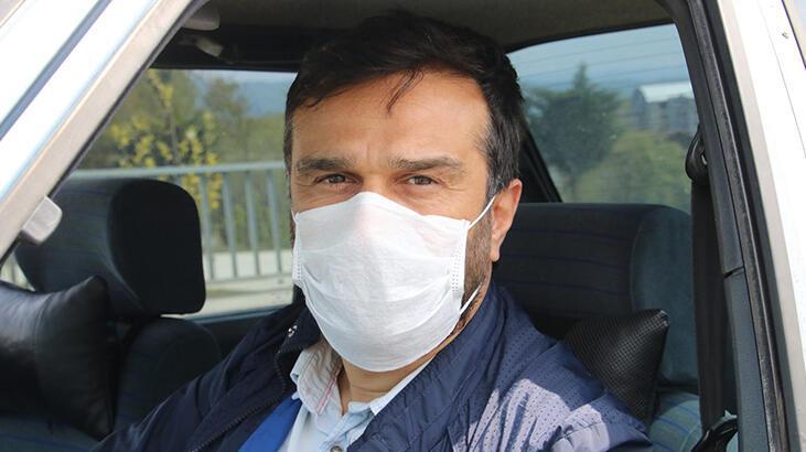Aracına bezden 'maske' yaptı!