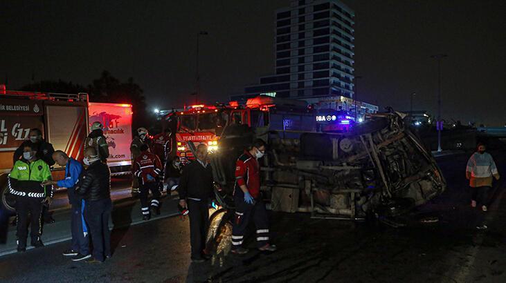 Başakşehir'de yön tabelasına çarpan vidanjör yan yattı:1 yaralı