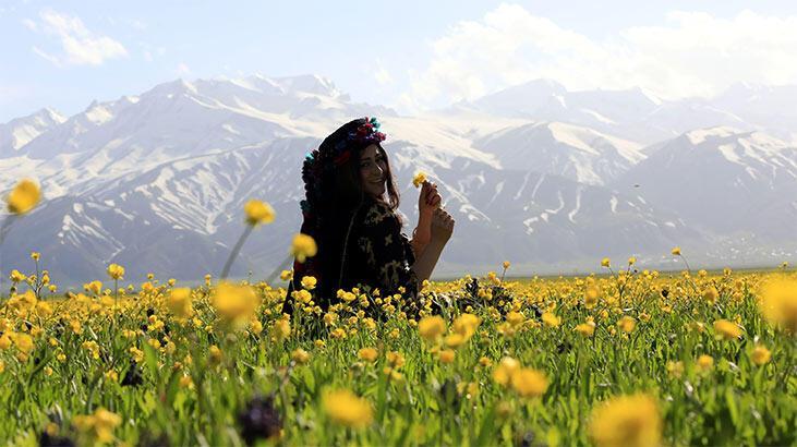 Yüksekova'da dağda kar, ovada sarı çiçekler