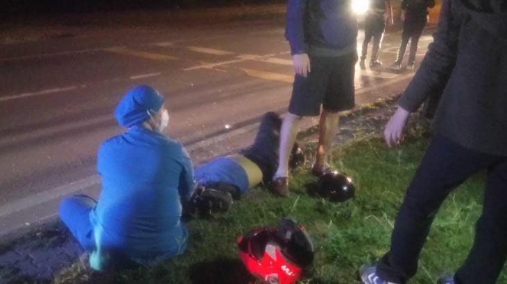 'Dur' ihtarına uymayarak kaçan motosiklet sürücüsü kaza yaparak yaralandı