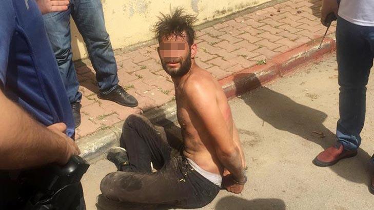 Nefes nefese yakalanan şüpheliyi polis suyla serinletti!