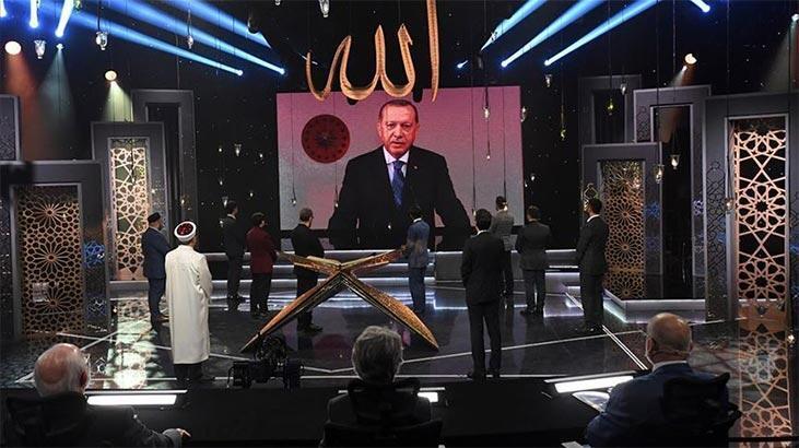 Cumhurbaşkanı Erdoğan, TRT'nin düzenlediği Kur'an-ı Kerim'i Güzel Okuma Yarışmasına katıldı