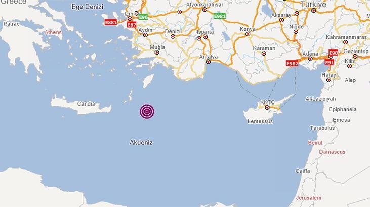 Son dakika.... Akdeniz'de deprem!