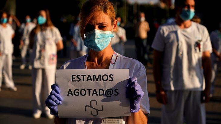 İspanya'da sağlık çalışanlarından 'corona virüs' eylemi