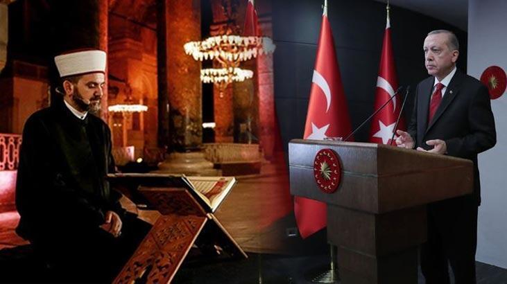 Ayasofya'da Fetih Suresi okundu! Cumhurbaşkanı Erdoğan: Gençlerimize ecdatları Fatih'e layık bir Türkiye bırakacağız