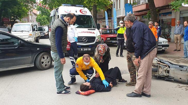Yer: Bursa... Motosikletli kadın kazada yaralandı