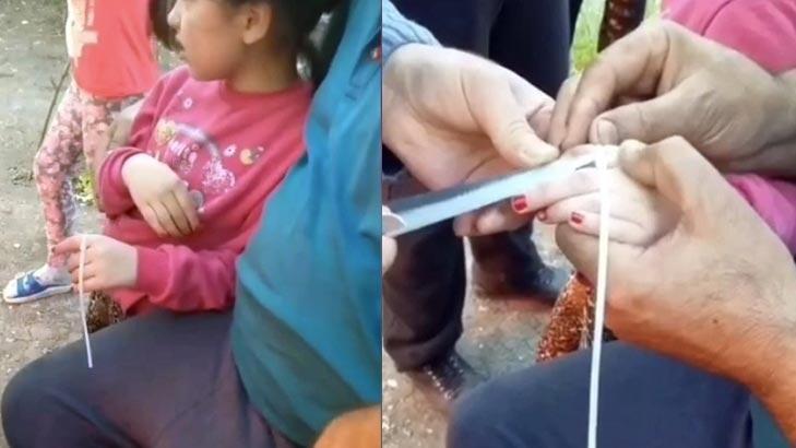 Parmağını sıkıştıran küçük kıza böyle müdahale ettiler!