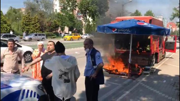 Satış yapmasına izin verilmeyince kamyonetini ateşe verdi