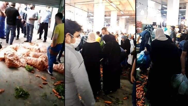Son dakika... Pazarcılar tepki gösterdi! Yere döktükleri sebze ve meyveler kapışıldı