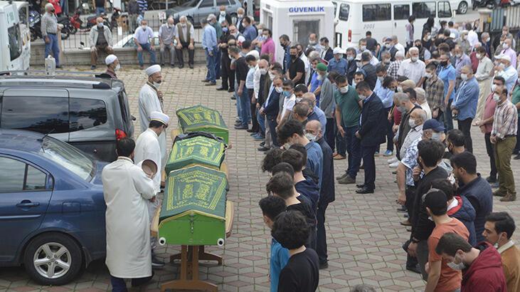 Tatil yolundaki kazada ölen 6 kişiden anne Elif ve 2 çocuğu toprağa verildi