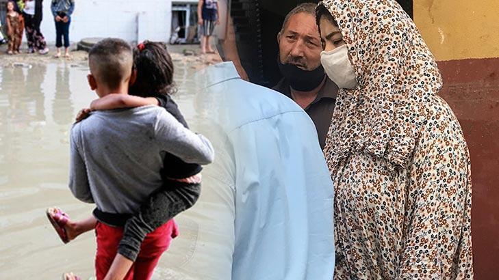 Esenyurt'ta su baskınında kurtarılan 3 çocuğun annesi evine geldi