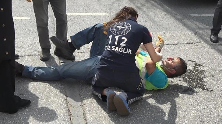 İstanbul'da çöp kamyonundan düşen işçi yaralandı!