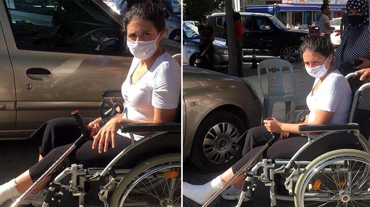 Sınav öncesi koltuk değnekleriyle zorlanan Kübra'ya tekerlekli sandalye