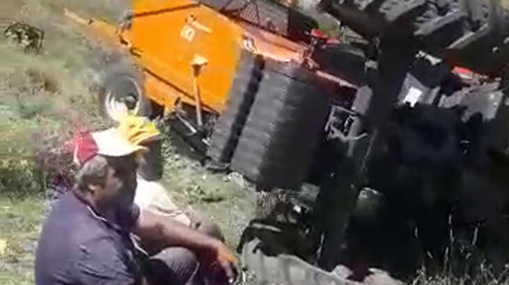 Traktör ile balya makinesi arasında kalarak, can verdi