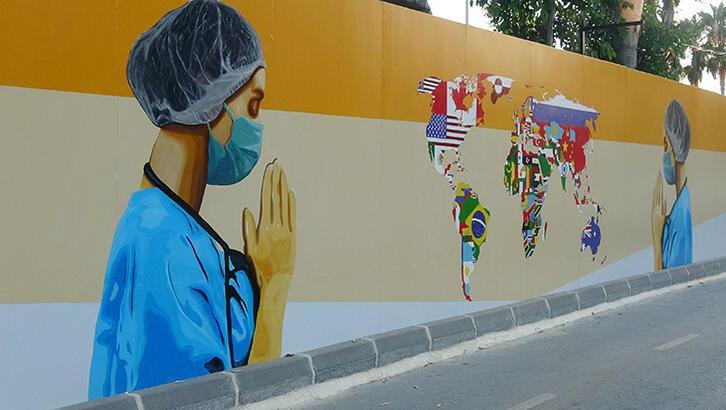 Sağlık çalışanlarına grafitili teşekkür - Tatil Seyahat Haberleri