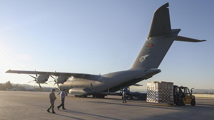 Son dakika... Tıbbi yardım malzemelerini taşıyan uçağımız Irak'a indi!