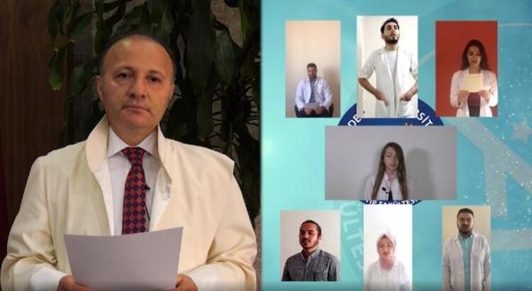 Tıp fakültesi öğrencilerinden online 'Hipokrat Yemini'