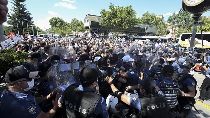 Baroların izinsiz yürüyüşüne polis müdahelesi
