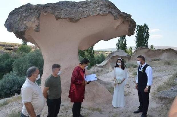 Kapadokya'da Açıksaray harabelerine yeni evli çiftlerden yoğun ilgi