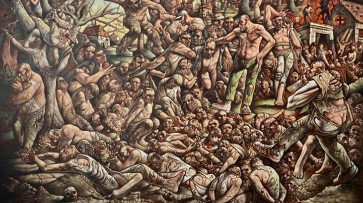 'Bosna'da kendi cehennemimden geçtim' diyen ressam Peter Howson'ın son tablosu