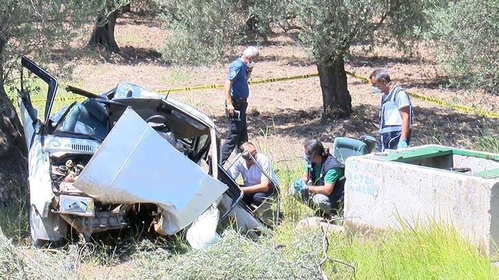 Otomobil zeytin bahçesine uçtu! İmam ve kayınpederi öldü