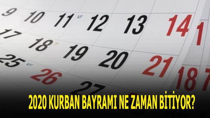Kurban Bayramı bitiş tarihi 2020! Bayram tatili ne zaman bitiyor, ayın kaçında, hangi gün?