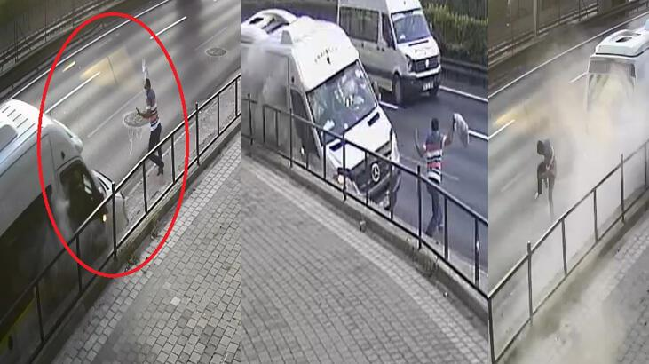 Ölümden saniyelerle kurtulan işçinin o anları kamerada