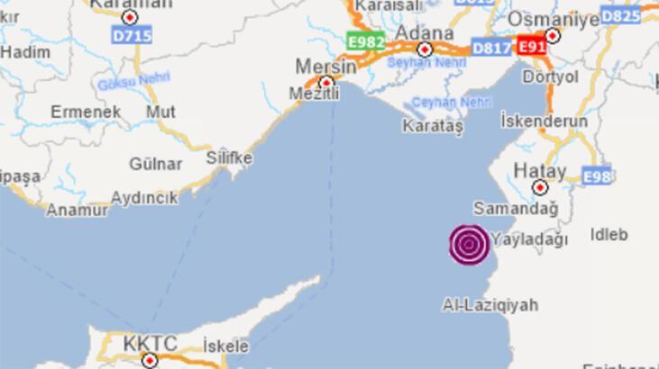 Son dakika: Akdeniz'de 3,6 büyüklüğünde deprem