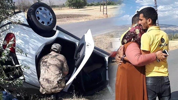 Otomobil takla attı! Anne, oğluna sarılıp gözyaşı döktü