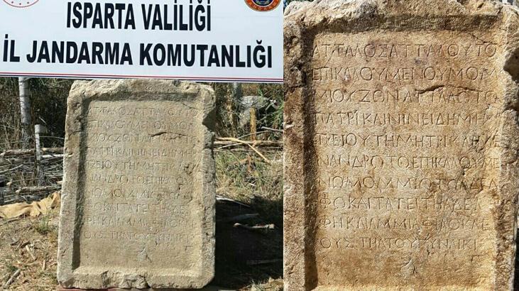 Isparta'da 1800 yıllık kitabe ele geçirildi