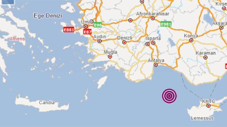 Son dakika... Akdeniz açıklarında deprem
